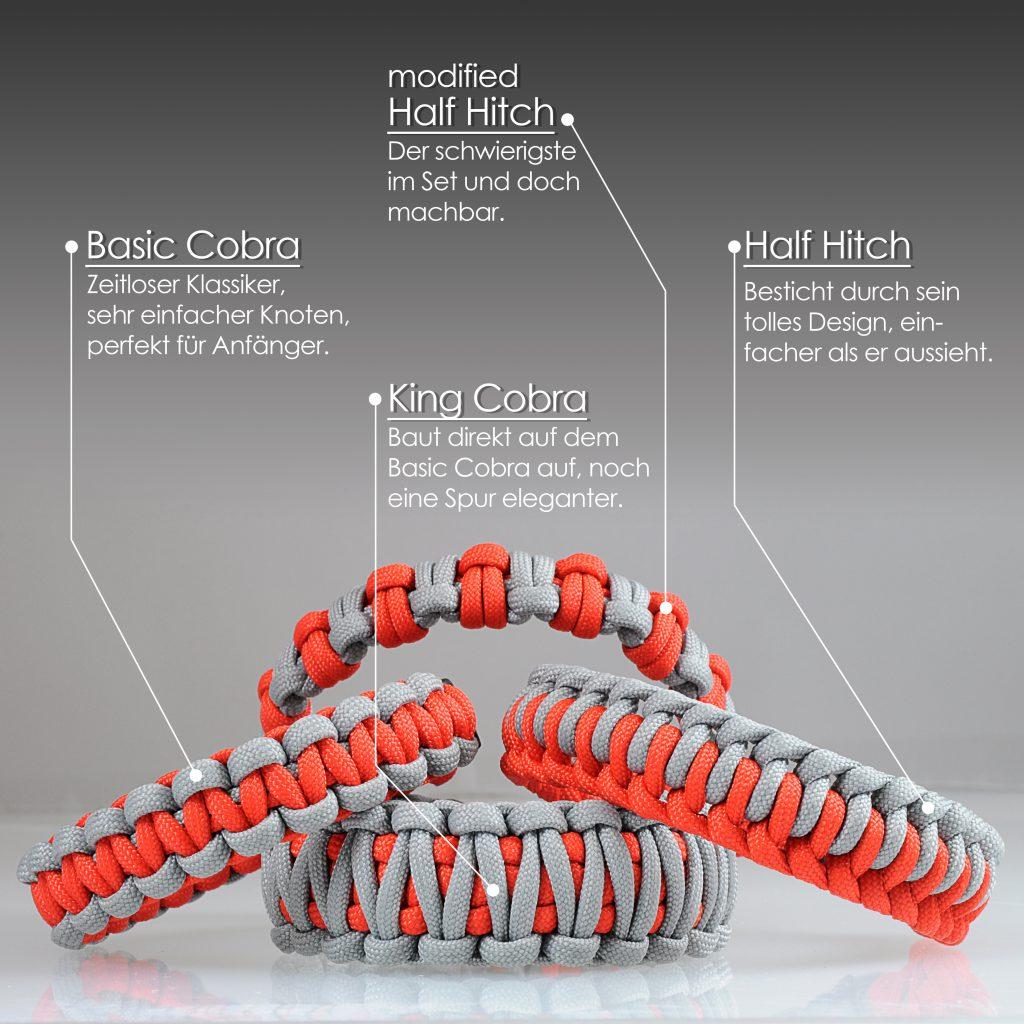 paracord 550 armband set basic 15628 5400blackwhite