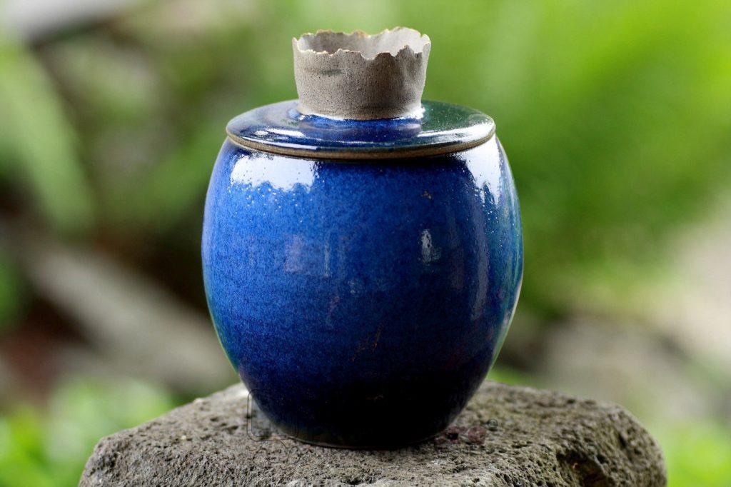 Tierurne Kleintierurne Ton Urne Hund Katze 850 ml Unikat Handarbeit blau lasiert 253001868630 2